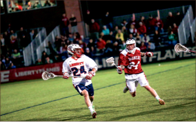 The Captain— Brett Bernardo found a home with Liberty's lacrosse team. Photo credit: Courtney Russo