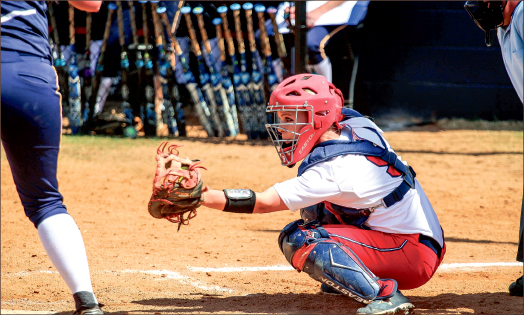 Big three — Catcher Kelby Allen, one of three seniors on the softball team, has been key to the Lady Flames success.  Photo credit: Courtney Russo