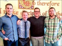 Leaders — Students took part in church discipleship opportunities. Pictured from left to right: Corey Anderson, Garret Hutchison, Matt Crawford, Brandon Graves. Photo provided