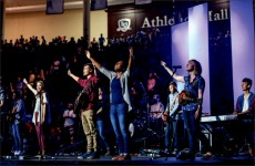 Gathering — Students from the Worship Collective led the student body in songs of praise. Photo credit: Leah Seavers