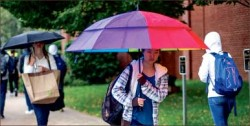 Drenched — Students needed to use their umbrellas and rain boots to stay dry from the rainstorms that hit Lynchburg last week. Photo credit: Leah Seavers