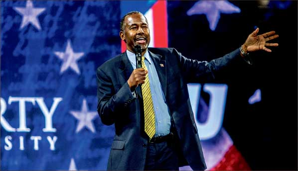presidential — Republican Candidate Ben Carson spoke in Liberty Convocation about veterans, taxes, creation and keeping God in America. Photo credit: Michela Diddle