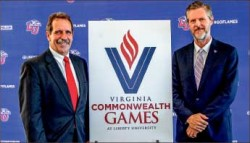 Partnership — Pete Lampman (left) and Jerry Falwell Jr. (right) posed at a press conference announcing the deal. Photo credit: Joel Coleman