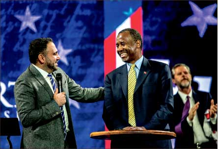 God Bless America — Ben Carson asked David Nasser to pray the eyes of America are opened. Photo credit: Michela Diddle
