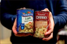 Cans — Students were asked to donate nonperishable foods to help feed the hungry. Photo credit: Leah Seavers