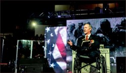 Pride — Veteran Dr. Tim Lee opened Military Emphasis Week when he spoke at Convocation Friday, Nov. 6 about his concern for America. Photo credit: Michela Diddle