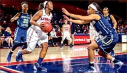 Paint — Lady Flames guard Candice Leatherwood drives to the basket. Photo credit: Michela Diddle