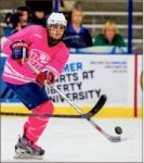 Pink — The Flames wore pink jerseys for Hockey Fights Cancer night in LaHaye. Photo credit: Jessie Rogers