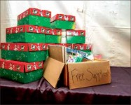 Tent — OCC collected boxes at a tent set up in Liberty's bookstore parking lot. Photo credit: Jessie Rogers