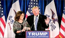 Primaries — Sarah Palin endorsed Donald Trump leading up to the Iowa caucus. Google Images