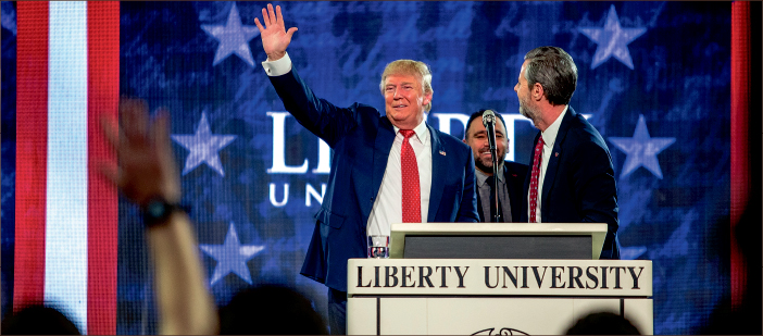 Politics — Donald Trump visited Liberty University Jan. 18 to speak at Convocation. Photo credit: Leah Seavers