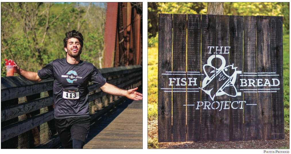 sweet rewards — On the left, Sam Cooper finishes the Fish & Bread 5K. The race raised about $4,000 for a pregnancy center, a sports ministry, and a local basketball team.