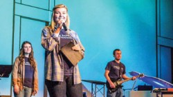 Gabby Jenkins shared her testimony during a chapel service. Photo credit: Bailey Pilgreen