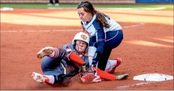 almost — Kassidy McCoy applies the tag during the Lady Flames blowout Game 1 win at Friday's doubleheader. Photo credit: Michela Diddle