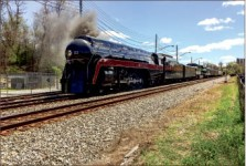 ALL ABOARD — The 611 steam locomotive pulled into Lynchburg April 9. Photo credit: Hayden Robertson