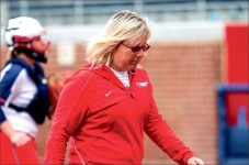 Legend — Flames Softball Head Coach Dot Richardson has turned the Flames into a winning program in less than three years. Photo credit: Leah Seavers