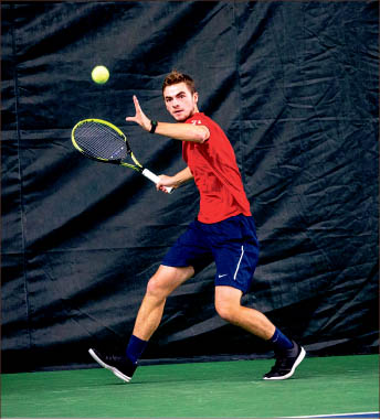 forehand — The Men's Tennis team lost in the semifinals to Gardner-Webb. Photo credit: Leah Seavers