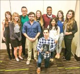 ad team — From left to right, Tabitha Cassidy, Casey Bell, Jeremy Ng Jia Le, Alexander Doub, Annie Evans, Benton Evans, Adilene Estrada, Katie Clinebell, Sierra Tilley.  In front: Matthew Voss. Not pictured: Dr. Stuart Schwartz. Photo provided