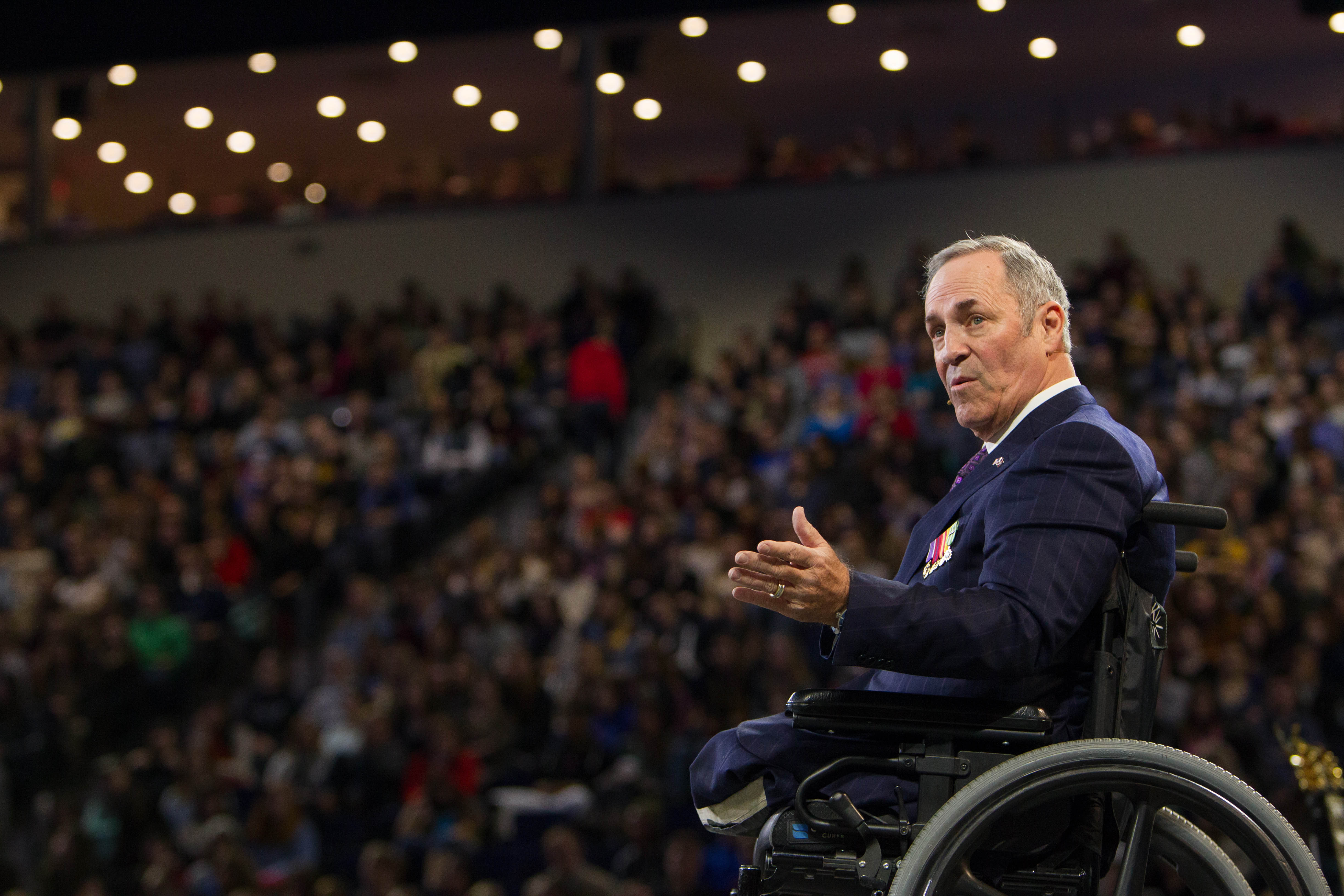 War veteran and evangelist Tim Lee addresses more than 10,000 Liberty students at Convocation on January 23, 2015. Photo credit: Kevin Mangioub