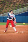 Release — Pitcher Julia DiMartino threw a no-hitter in the first game against GWU. Photo credit: Michela Diddle