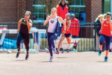 Sprint — Women's track and field team competed in the Liberty Collegiate Invitational. Photo credit: Joel Coleman