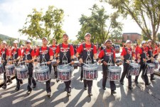 on beat — Liberty's marching band drumline performed at Liberty football games and other events. Photo credit: Ty Hester
