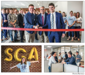 KICKOFF — SGA President Jack Heaphy, Dean of Students Robert Mullen, SGA Vice President Luke Welgoss and SGA representatives celebrated the grand opening of the new SGA office. Photo provided