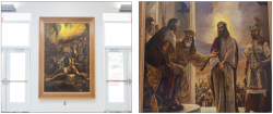 DISPLAY — The collection of paintings depicting Jesus Christ's life, death and resurrection hang in the Montview Student Union Alumni Ballroom. Photo credit: leah seavers
