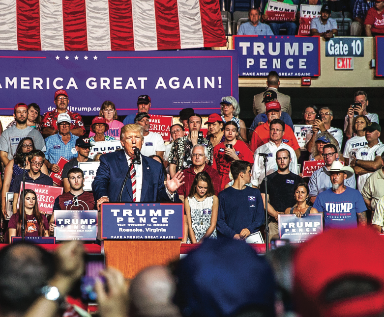 ELECTION — Republican presidential nominee Donald Trump spoke to a crowd at the Berglund Center in Roanoke, Virginia Sept. 24. He talked on matters pertaining to immigration, healthcare and the economy. Photo credit: Will Young