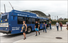 catch the bus — Students are dropped off from a GLTC bus at the Green Hall stop in North Campus. Busses run on five-minute intervals during the week from 7 a.m. to 7 p.m. Photo Credit: Michela Diddle
