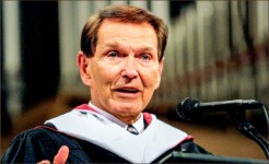 SPEAK — Tim LaHaye gives the baccalaureate address at Thomas Road Baptist Church in 2001. Photo provided