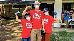 REBUILD — Liberty University students, using their time and talents to assist others, traveled to Louisiana to help rebuild parts of the state that were ravaged by the recent flooding. Photo credit: Kasey Lange