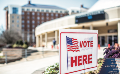 A CIVIC DUTY — Liberty students have been able to vote at the Vines Center since October 2011. Photo credit: Kevin Manguiob
