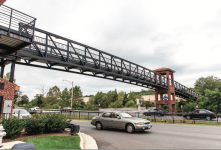 IMPROVEMENT — The pedestrian bridge over Wards Road is an example of how Lynchburg City partnered with Liberty University to build infrastructure. Photo credit:  Michela Diddle