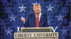 nominated — Presidential candidate Donald Trump spoke to students at Convocation in January 2016. Photo Credit: Kevin Manguiob