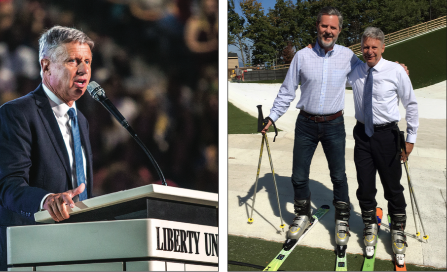 A THIRD OPTION — Gary Johnson spoke to Liberty students on immigration, the rising national debt and his experience climbing Mt. Everest. Johnson also skied down Snow ex with President Falwell. Photo Credit: Michela diddle
