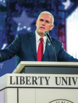 GOVERNING THE FUTURE — Indiana Gov. Mike Pence (left) spoke to students at Liberty's Convocation Oct. 12 on the future state of the nation and why evangelicals should vote Republican. Photo credit: Michela diddle