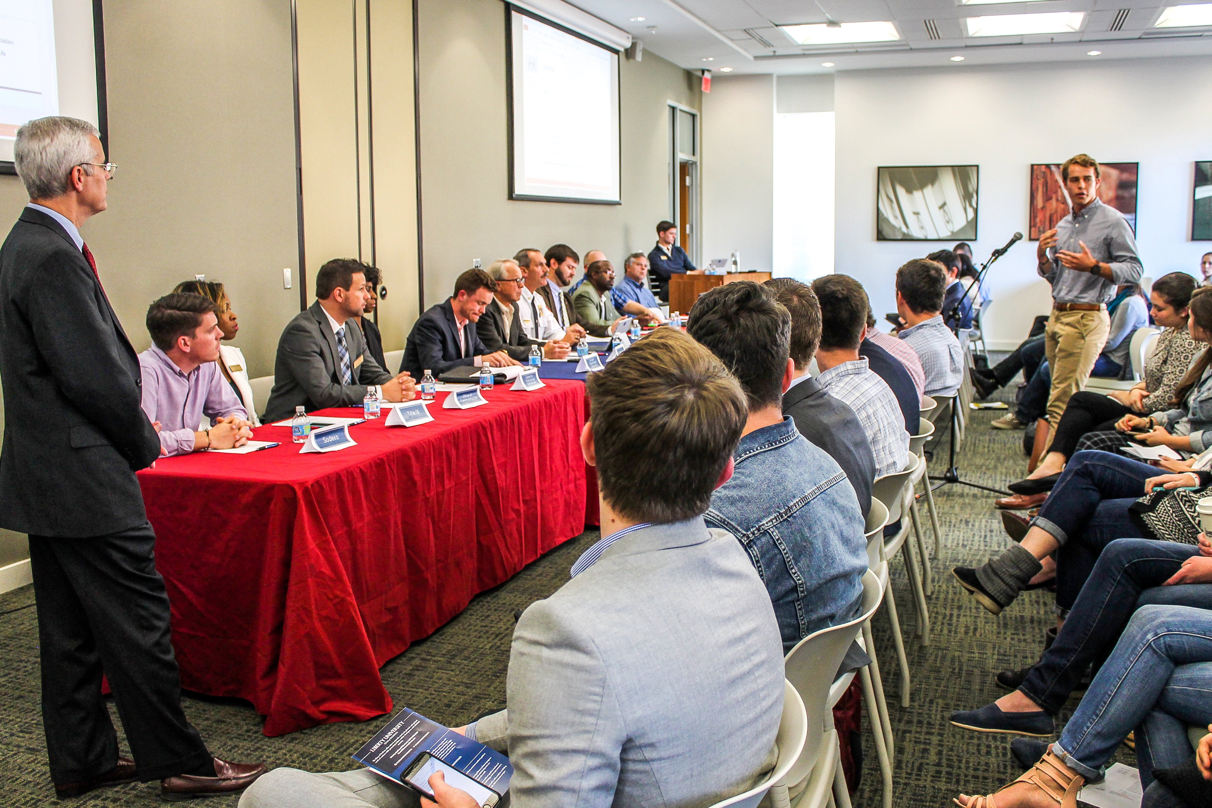 DISCUSSION — Students voiced their opinions and concerns about campus life to Liberty administrators during the SGA town hall meeting Oct. 25. Photo credit: Amber Tiller