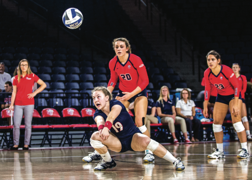 BUMP — Sophomore libero Margaret Latchford had seven digs in the game. Photo credit: Michela Diddle