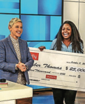 SURPRISE — DeGeneres presented Thomas' check.  Photo provided