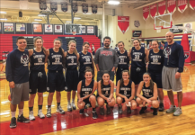 "TEAM — The Liberty Christian Academy girls' basketball team posed after the ""Shoot-A- Thon"" with Head Coach Paul Redgate and the team managers. Photo Provided"