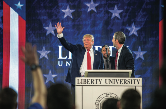 ENDORSEMENT — Donald Trump spoke to Liberty students during Convocation Jan. 18, 2016. Photo Credit: Leah Seavers