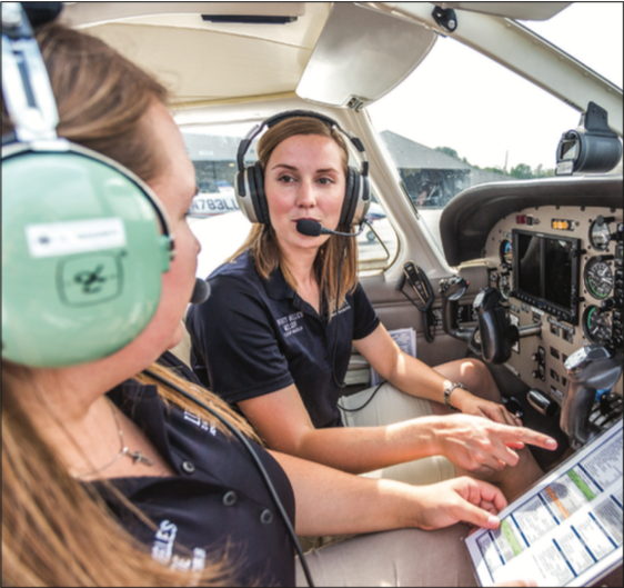 TAKEOFF — Liberty's aviation school intentionally focuses on train- ing women and minority groups to be pilots in its program. Photo Credit: Kaitlyn Becker Johnson