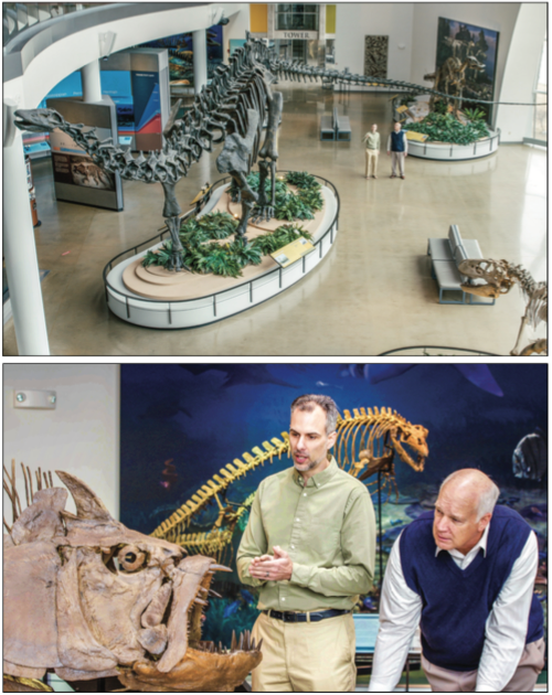 FOSSILS — Marcus Ross (left) explains how a global  flood affected many ecosystems. Photo Provided
