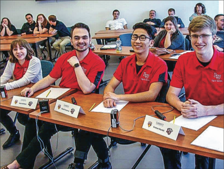 SWEEP — Liberty's Varsity Quiz Bowl Team went undefeated in all four of its matches against Big South opponents during the conference tournament at Radford Feb. 25. PHOTO PROVIDED