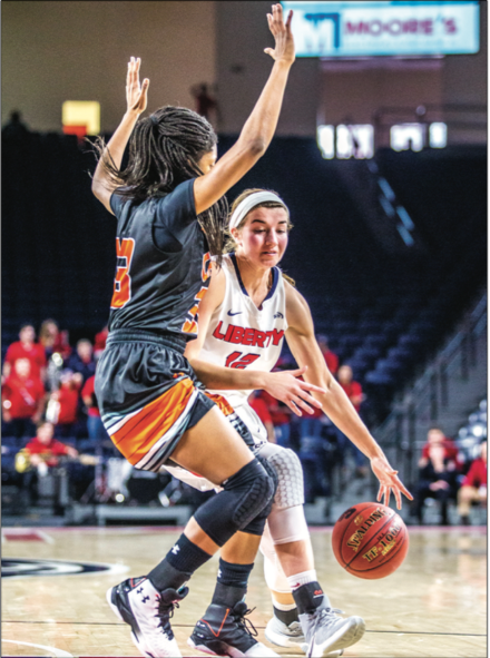 TAKE — Audrey Rettstatt drove inside to the basket against a Campbell defender. Photo Provided: Michela Diddle