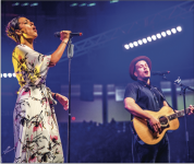 PLAYING IT LOUD — Los Angeles-based singer-songwriter duo Johnnyswim visited Convocation March 24 to discuss their marriage, faith and to perform both on stage and throughout the arena. Photo Credit: Michela Diddle