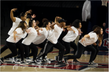 dance it out — The group performs at on-campus events such as basketball games. Photo Credit: Jessie Rogers
