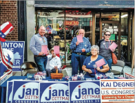 ROOTING FOR BLUE — Volunteers of the Lynchburg Democratic Committee volunteered last fall to campaign for congressional candidates Jane Dittmar and Kai Degner. Photo Provided