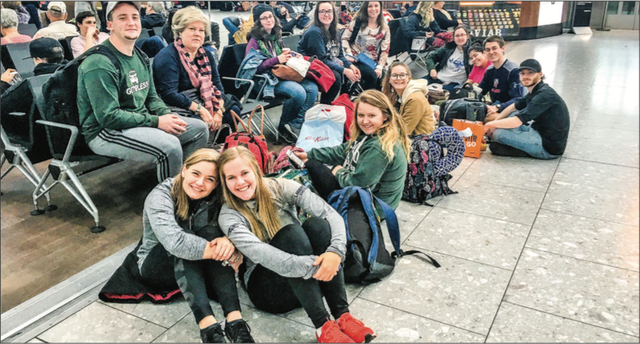 ACROSS THE POND — Students on the LU Send London/Dublin trip over spring break wait for their flight. Photo Provided